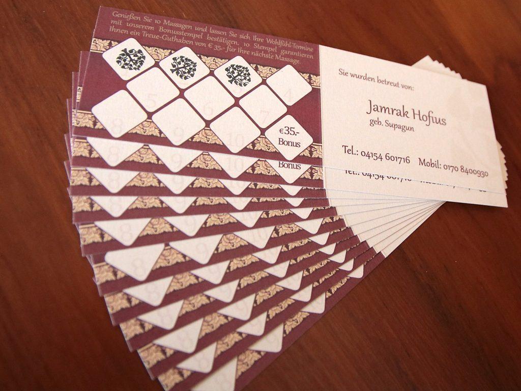 Visitenkarte mit Bonuskarte